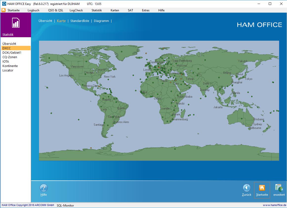 QSO-Auswertung auf Karte