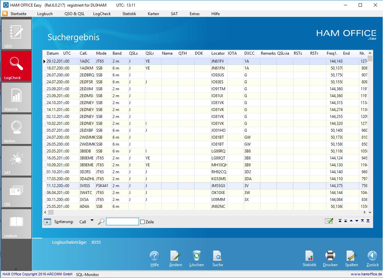 QSO-Suche-Ergebnisfenster